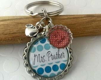 Teacher Keychain Gift, Personalized teacher gift, THANK YOU, Number One Mom, Dad, Babysitter, Teacher Gift Bottle Cap Keychain