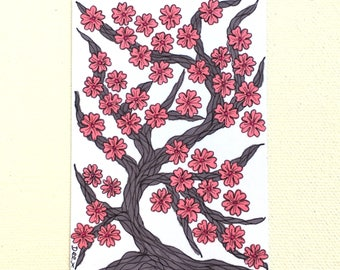 Cherry Blossom Tree ACEO, Cherry Tree Art Card, Japanese Blossom ATC, Artist Trading Card, Pink Blossom Tree Illustration, ACEO Original Art