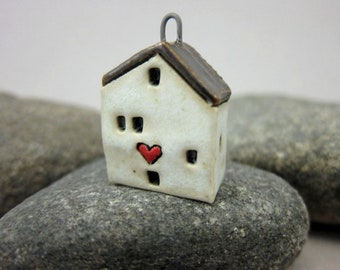 Love Lives Here...OOAK Miniature House Pendant in Stoneware by elukka...Matte Off-White