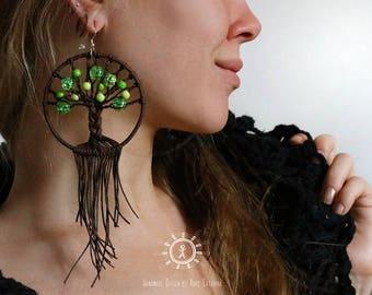 """Earrings """"Tree of Life"""", brown // Hoop earrings, Bohemian"""