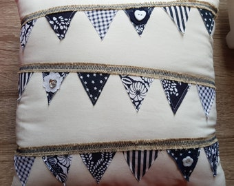 Dark Blue & Cream Decorative Bunting Cushion