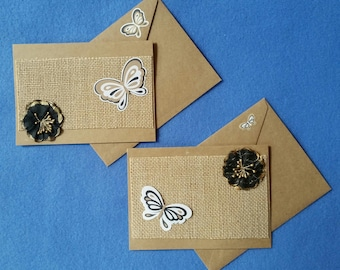 Two Greeting Cards, burlap and butterflies - Recycled Handmade Kraft Paper blank cards
