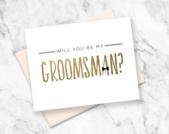 Printable Will you be my Best Man | Faux Gold Foil | Groomsman, Usher, Ring Bearer, Jr. Groomsman Bundle | No. PW3003
