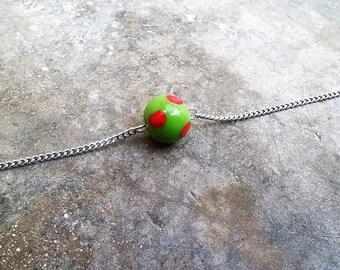 Silver curb chain - bracelet bead glass - bracelet - colorful Bead Bracelet - fancy fashion bracelet - chain bracelet