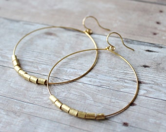 Hoop Earrings, Gold Plated Hoops with Brushed Gold, Gold Hoop Earrings, Hoops, French Hook