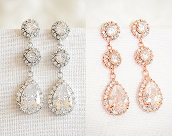 30% OFF, Bridal Earrings, Rose Gold Wedding Earrings, Dangle Drop Bridal Earrings, Halo Teardrop Bridal Earrings, Wedding Jewelry, VENETIA