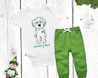 St Patrick's Day Baby Onesie One Lucky Dood - Goldendoodle, Doodle, Golden Doodle, Labradoodle, Sheepadoodle Irish
