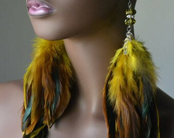 Yellow Feather Earrings With Crystal Beads