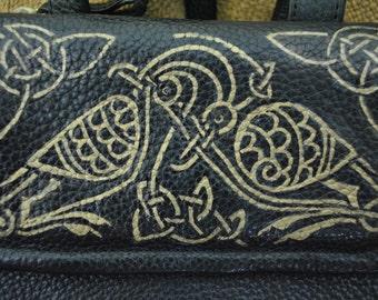 Celtic Liz Claiborne Black leather bag with one-of-a-kind handpainted design