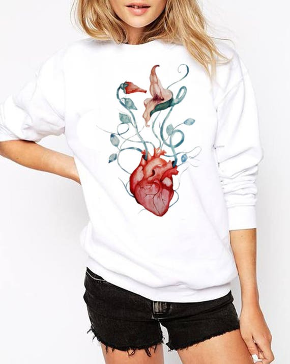 Pink Floyd The Wall Love Flowers Unisex Heavy Blend Crewneck Graphic Sweatshirt | Anatomical heart | Watercolor rock music fan art |ZuskaArt
