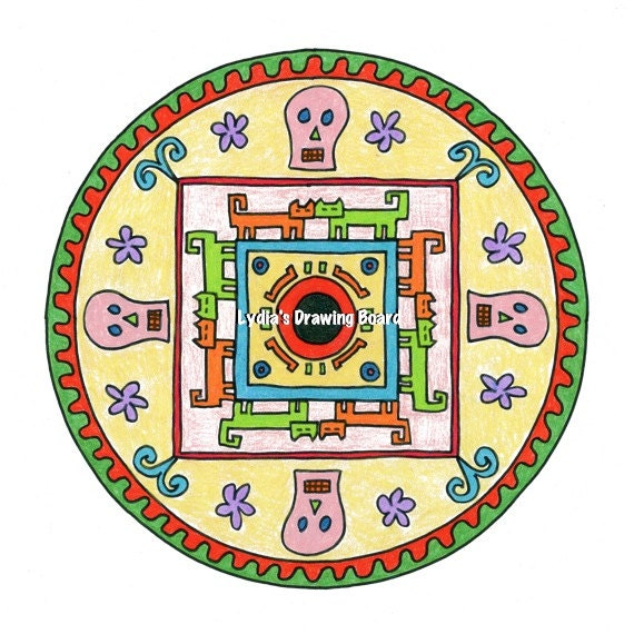 Mandala Art, Mandala Wall Art, Mandala Print, Mandala, Day of the Dead, Day of the Dead Art, Dia de Los Muertos, Dia de Los Muertos Art