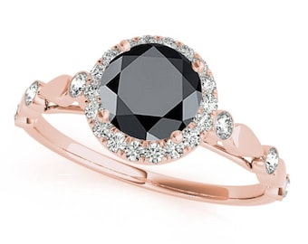 1.30 Ct. Halo Black Diamond Engagement Wedding Ring In 14k Gold