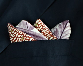Pocket Square Men's 2 Style Japanese Vintage Kimono Fabric With Gift BOX HANDMADE 62