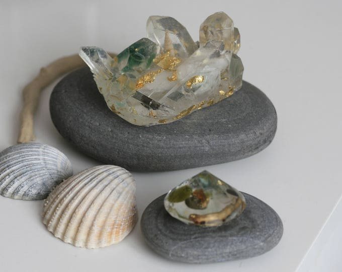 SET of 2 Irish Coast Seaglass, Shell and Resin Crystals | Nautical | Display | Paperweights
