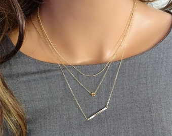 Simple layering necklace Beaded chain necklace, Simple Circle, Coin, Dot Necklace, Gold name bar necklace, Personalized jewelry gift