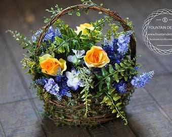 Floral Basket Arrangement (Purple and Yellow) Moss