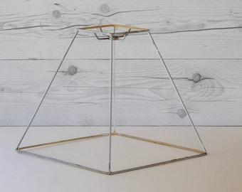 Lamp shade frame etsy vintage unique diamond shaped lamp shade frame vintage deconstructed lamp shade hardware vintage metal greentooth Images