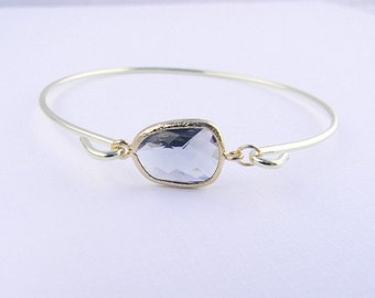 Gold Bangle Bracelet / Gray Bracelet / Bridesmaid Gift / Bridesmaid Jewelry / Bridesmaid Bracelet / Gift For Her / Charcoal Bangle Bracelet