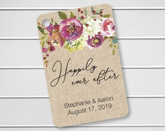 Penelope - Happily Ever After Kraft Wedding Favor Tags, Custom Wedding Favor Tags, Floral Wedding Hang Tags (RR-379-020-KR)
