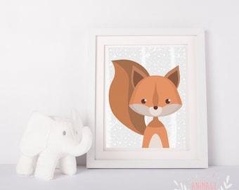 Digital poster file squirrel decoration design room kid nursery baby forest animals animal  woodland