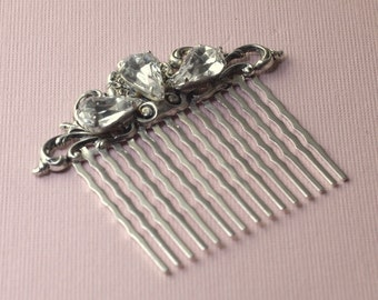 Crystal bridal hair comb antique style filigree victorian silver jewels rhinestone vintage wedding hair accessory