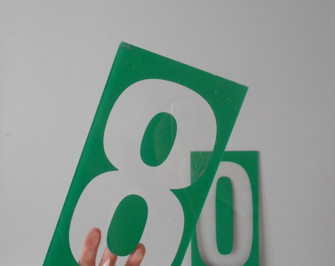 pick a number / large green gas station number sign / modern industrial decor