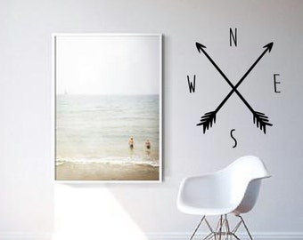 North East South West Compass with Arrows Wall Decal - Home Decor - Wall Art - High Quality Vinyl Graphic