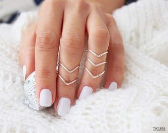 5 Chevron Knuckle Rings -  Above  The Knuckle Rings -  Adjustable Rings -  Mid Knuckle Rings - Silver Knuckle Rings - set of 5 by Tiny Box