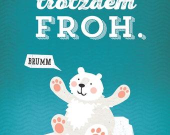 """Poster Polar Bear, 16""""x23"""", Art Print, Animal Art Print, Illustration, Vector Art, Children's Room"""