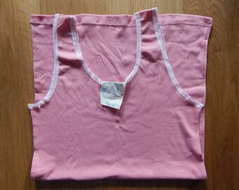 Vintage Soviet Woman Pink Tank Maika/ Shirt/ Undershirt, Unused, Made in USSR in 1980 s.