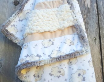 Minky baby quilt-fur and minky-wee baby quilt-gender neutral baby quilt-unique baby gift-soft and cuddly baby quilt-sheep minky-shower gift