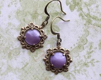Dusty Lilac Earrings - Petite Glass Earrings - Dainty Earrings - Delicate Earrings - Tiny Earrings - Purple Jewelry - Dusty Lilac Jewelry