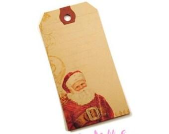 Set of 2 Santa tags 1 cardmaking scrapbooking tags *.
