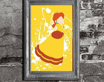 Princess Daisy Splatter - Mario Brothers Inspired - Video Game Art Poster