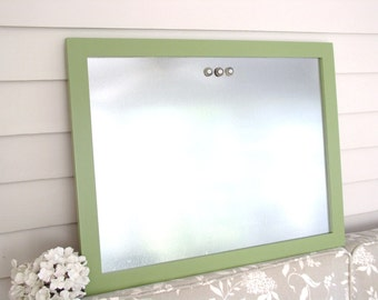 Magnetic Board in Sage Green Modern Industrial Wood Framed Bulletin Board  20.5 x 26.5 Dry Erase Steel and Handmade Hardwood Frame