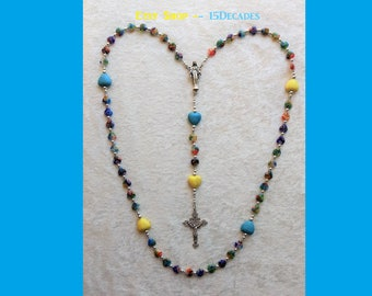 Our Lady of Grace - Howlite & Millefiori Hearts 5-Decade Rosary (Design 1)