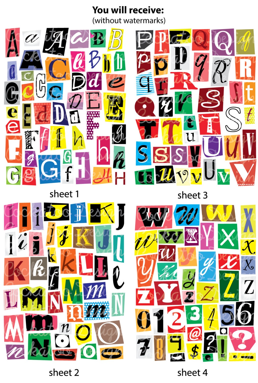 50 off digital aphabet spy party clipart cutout letters this is a digital file spiritdancerdesigns Images