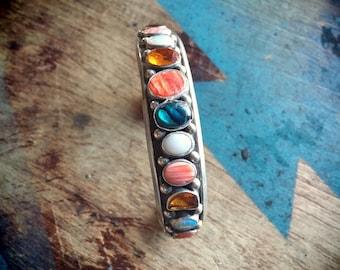 Multi Color Multi Stone Sterling Silver Cuff Bracelet, Old Pawn Native American Jewelry