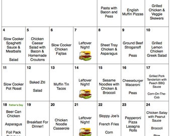 June 2017 Meal Plan | Weekly Grocery List with Recipes | Budget Menu Plan | Monthly Menu | Grocery List | Father's Day | Canada Day
