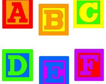 Baby Blocks Alphabet Clip Art