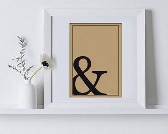 Ampersand typography print, home decor, minimalist, wall art, hygge, black and white, art print, kraft paper, A5, A4