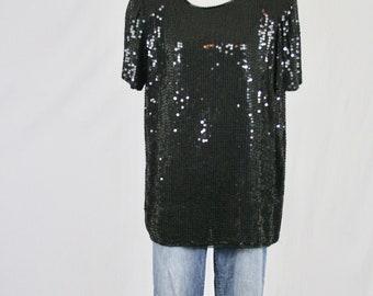 1980s Black Sequined Tunic Blouse by Creazioni Effeci Medium