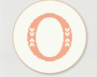 Cross stitch letter O pattern with chevron accent, instant digital download