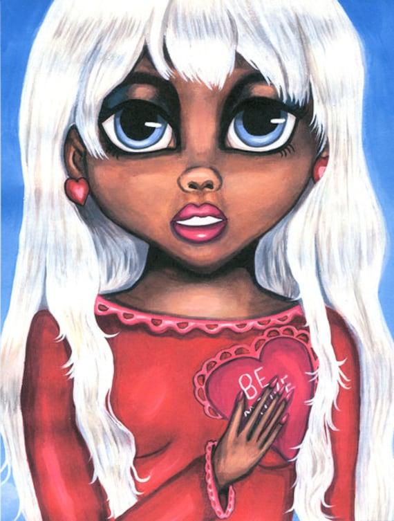 big eye ethnic girl original art painting print, low brow, romance love, Secret Admirer, modern art, original artwork, wall art