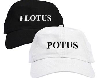 POTUS White and FLOTUS Black Dad Hat Baseball Cap Low Profile