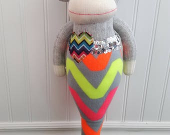 CLEARANCE Sock Monkey Mermaid Doll with Fluorescent Chevron Pattern on Tail