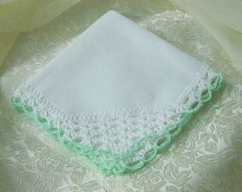 Bridesmaids Handkerchief, Bridal Party Gift, Hand Crochet, Ladies Hanky, Lace Hankie, Custom Embroidered, Mint Green, Ready to ship