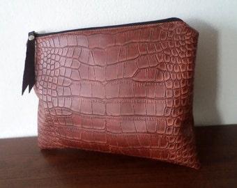 Handmade clutch purse / Croco pattern clutch bag