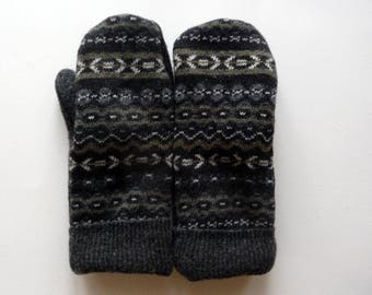 Recycled sweater mittens, warm mittens, gray mittens