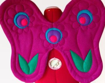 Flower Wings, Sunset Daisy. Fantasy, Fairy Tea Party. Felt, No Wire. Original design.